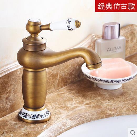 European antique kitchen faucet brushed bronze golden - White porcelain bathroom fixtures ...