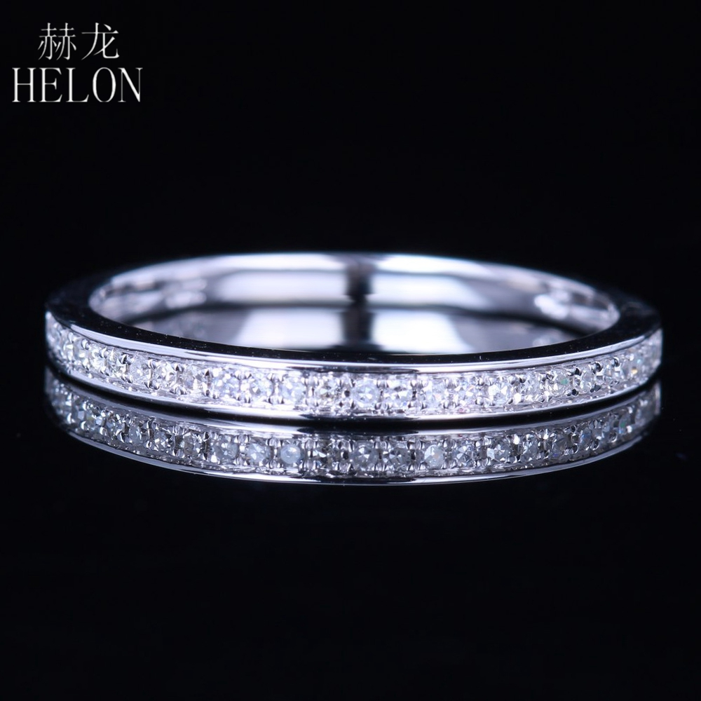 HELON 1/10CT Natural Diamond Half Eternity Band Solid 10k White Gold Ring Engagement Anniversary Ring Fine Jewelry ,Wholesale