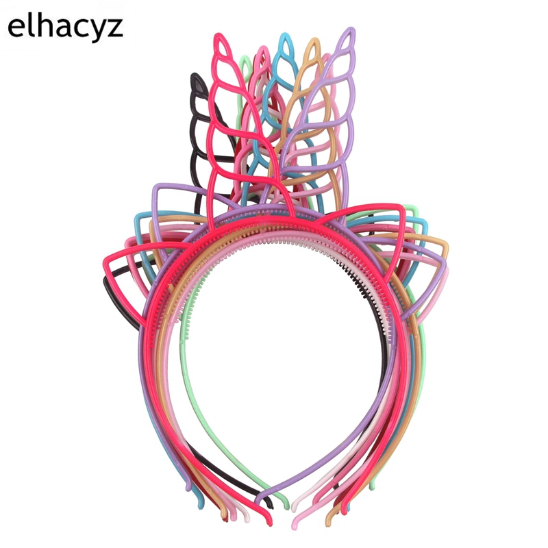 10pcs/lot DIY Headwear Girls ABS Plastic Unicorn Hairbands Lovely Hair Hoop Headband for Party Accessories