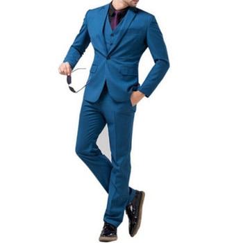 Custom Made Dark Blue Mens Wedding Suits Groom Tuxedo 3 Piece Suit Jacket Waistcoat Trousers Groom Wear (Jacket+Vest+Pants) Y322