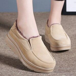 Image 5 - Hosteven Women Shoes Flat Sneaker Moccasins Loafers Oxfords Boat Genuine Leather Plush Fur Spring Autumn Female Ladies Shoe
