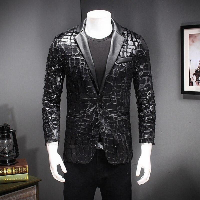 Черный Искусственная кожа блейзер Для мужчин 2018 Осень Slim Fit сращены бархатный костюм куртка человек 5XL Повседневное блейзеры для Для мужчин