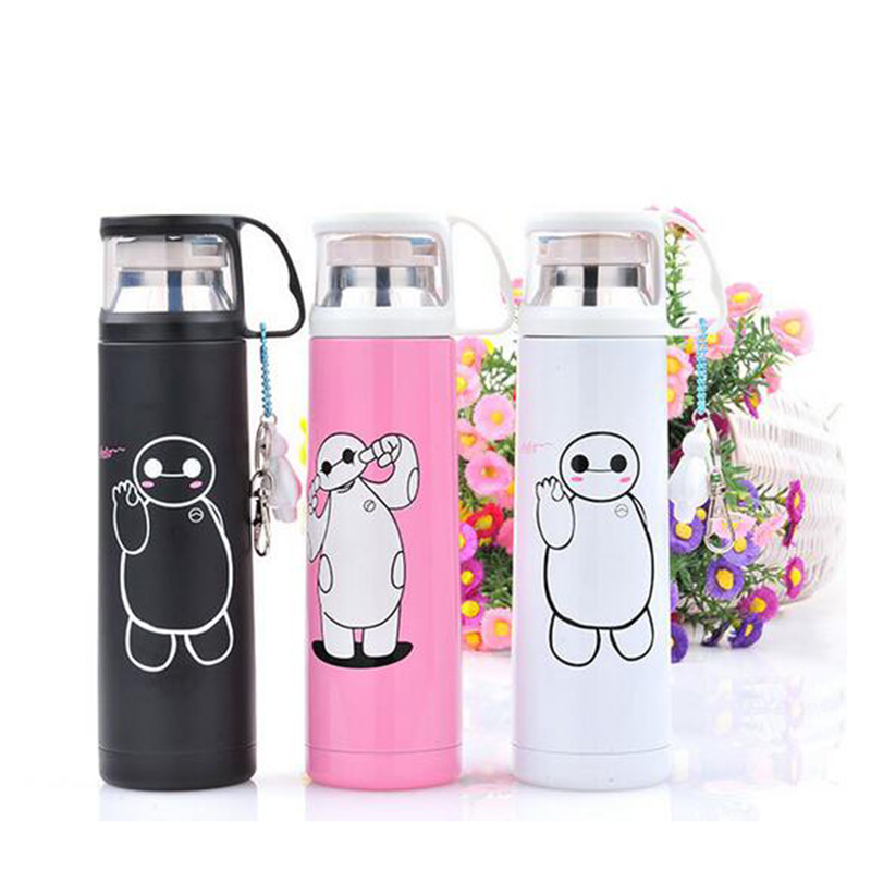 Cartoon Vacuum Flasks Cute Pendant Water Bottle Business Stainless Steel Vacuum Cup Lid Totoro Small Yellow