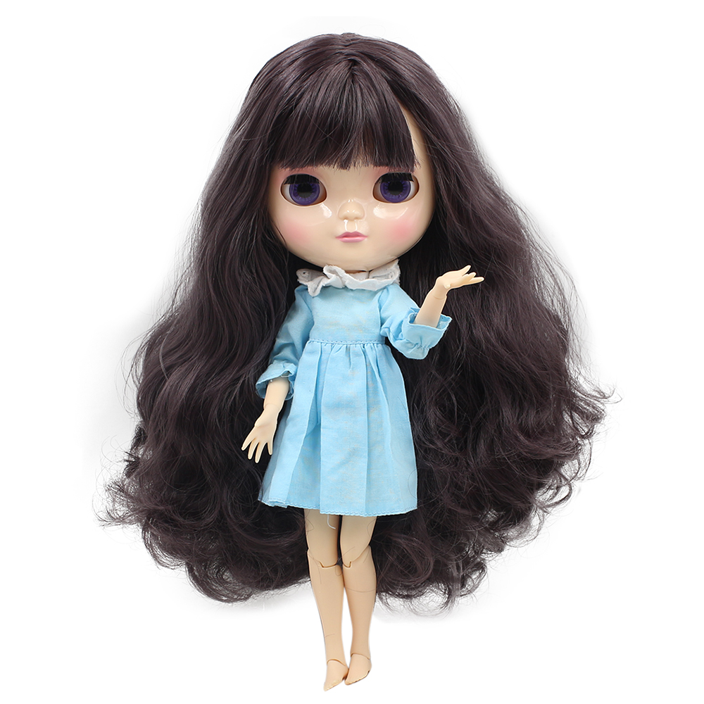 ICY DOLL with small breast joint body with handset A and B dark purple hair 1