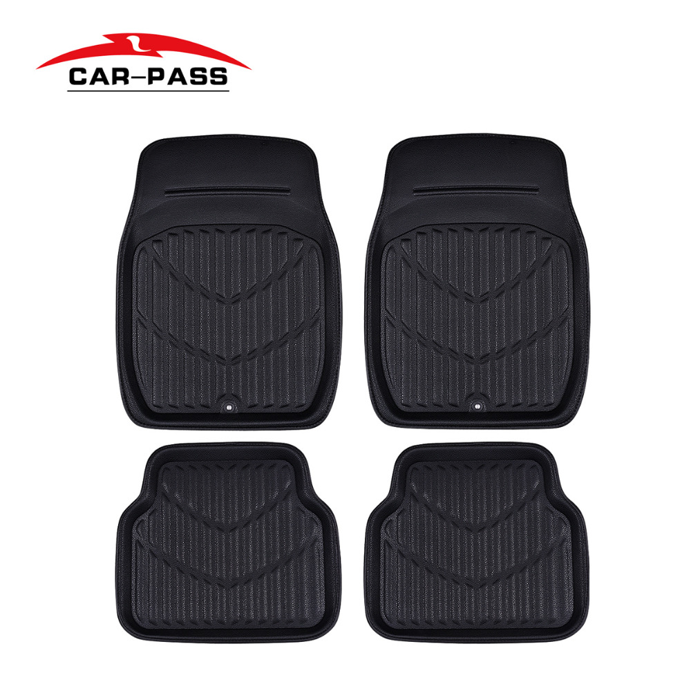 Car-pass Pvc Leather Car Floor Mats Black/Red 4 Pieces Front & Rear Carpet Auto Skidproof Mat Waterproof Floor Mats