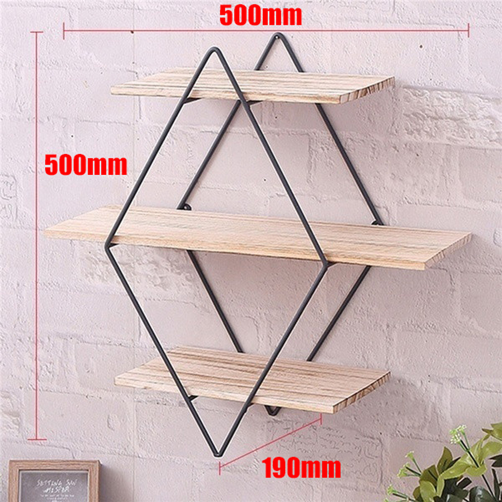 Wooden Iron Wall Shelf Wall Mounted Storage Rack Organization For Kitchen Bedroom Home Decor Kid Room DIY Wall Decoration Holder in Storage Holders Racks from Home Garden