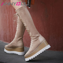ANNYMOLI Autumn Knee High Boots Women Natural Genuine Leather Platform Wedge High Heel Long Boots Square Toe Shoes Female Winter woman genuine leather platform square heel knee high boots round toe side zipper dress winter boots black