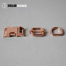 10 sets plated metal adjustment belt buckle 5/8 15mm webbing d-ring adjusters for bag dog pet collar DIY accessories snap hook