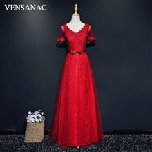 VENSANAC Sequined V Neck 2018 Lace Embroidery Long Evening Dresses Elegant A Line Bow Sash Backless Party Prom Gowns