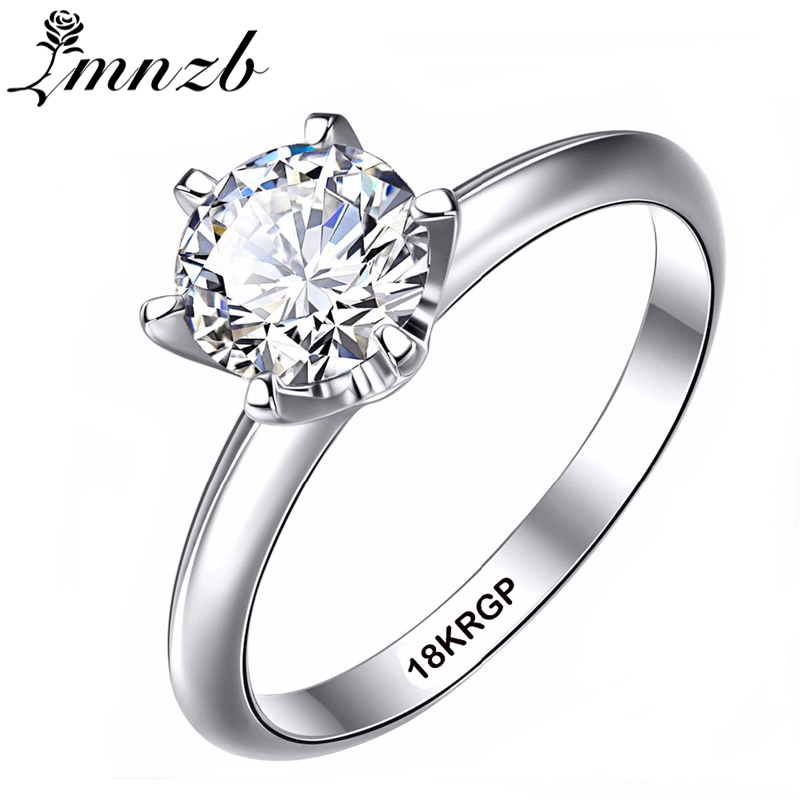 LMNZB Classic White Solitaire Wedding Rings Gold Color with 18KRGP Stamp 6mm 1 Carat Zircon CZ Engagement Rings for Women LR018