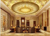3d ceiling murals wallpaper European pattern Golden Hall 3D Ceiling wallpaper 3d ceiling 3d customized wallpaper