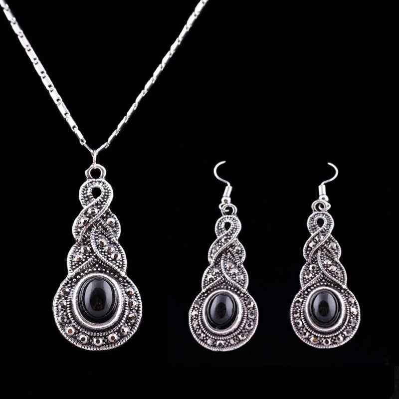 Moda 3PCS/SET Women Jewelry Tibetan Silver CZ Crystal Chain Pendant Necklace Earrings Set Round Moda Jewelry sets