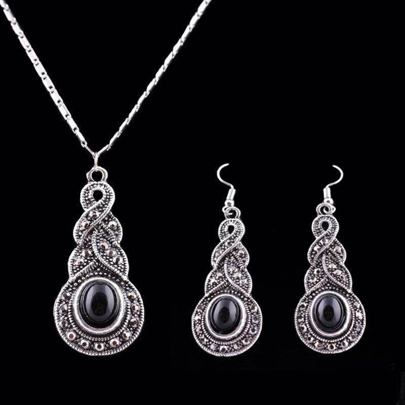 Moda 3pcs/set Women Jewelry Tibetan Silver Cz Crystal Chain Pendant Necklace Earrings Set Round Moda Jewelry Sets