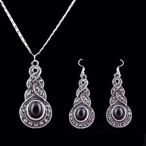 Pendant Necklace Jewelry-Sets Crystal-Chain Silver Moda Tibetan CZ Women 3pcs/Set Round