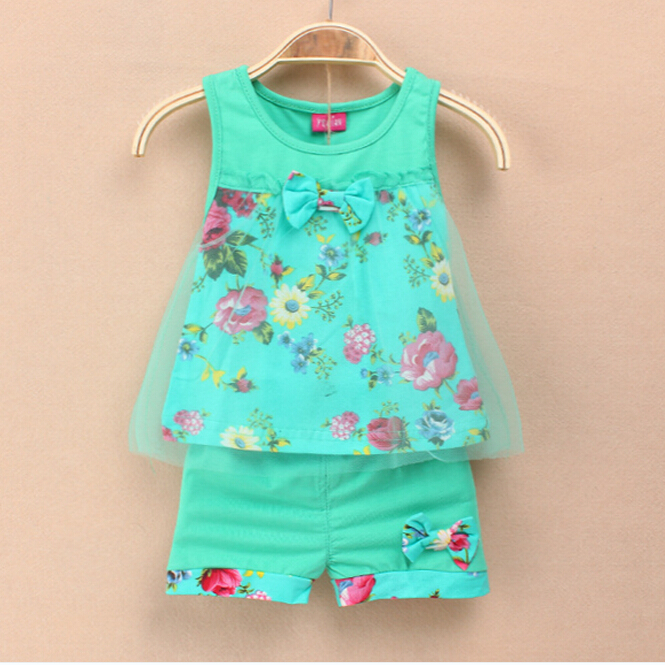 2016 Summer New Fashion Baby Girls Kids Outfits Suits Tops Shorts Bow Tulle Suit  2-5Y 2016 new summer baby sport suit 100