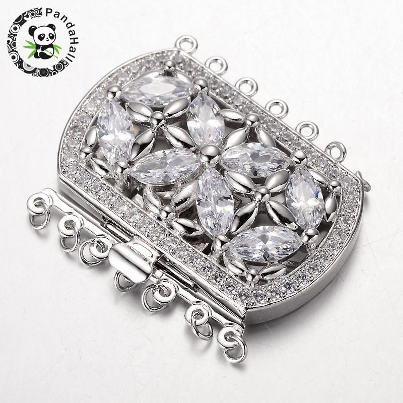 Jewelry DIY 13x16mm Rectangle White Gold Plated Rhinestone Box Connector Clasp
