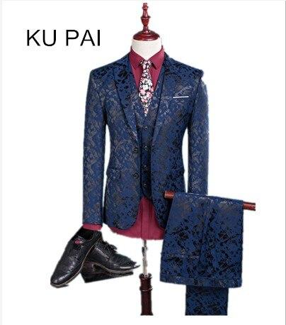 (Blazer+Pants+Vest) Fashion Men's Suit Shine Patterns Luxury Casual Men Stage Clothing Vintage Mens Suits Wedding Groom M 3XL