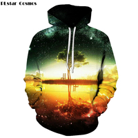 PLstar Cosmos Space Galaxy Hoodies Sweatshirt 2017 Tree Lake Chiar 3D Print Hoody Sudadera Hombre Casual