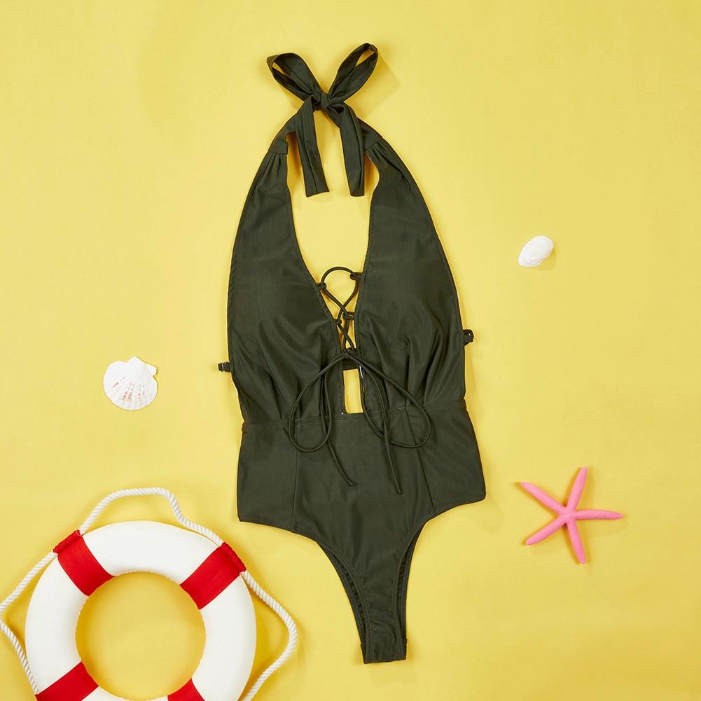 Newest One Piece Swimsuit Women Sexy Deep V-Neck Bandage Monokini Swimwear Female 2017 Bathing Suit Beach Wear S-XL 4