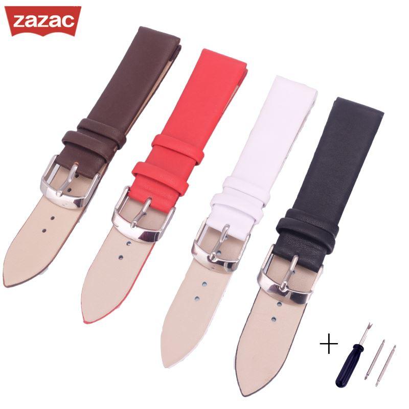 Zazac Bracelet Belt Soft Genuine Leather Watch Band Pin buckle Watch Accessories WatchStrap 12 14 16 18 20 22mm Watchbands black khaki genuine leather watch band strap pin buckle bracelet watchbands 18 20 22mm durable pd0134
