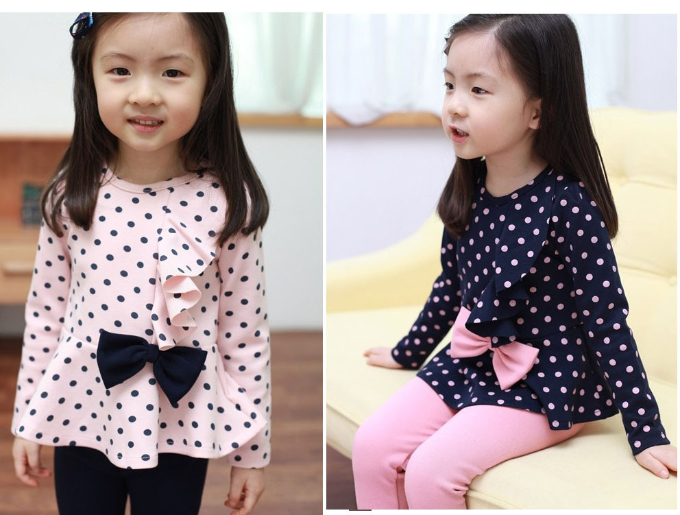 2017 Brand Spring Autumn Girls Clothes Sets Outfits Bow bowknot Dot Long Sleeve Pants Suit Kid