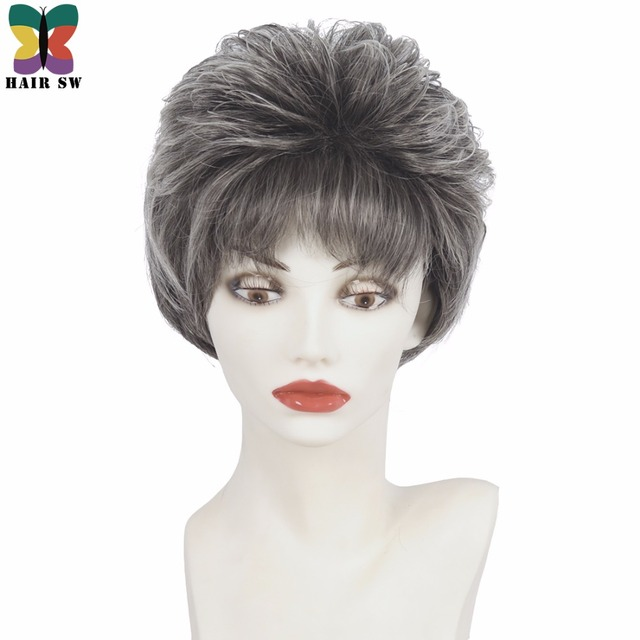 hair sw short straight pixie cut layered wig silver gray fluffy