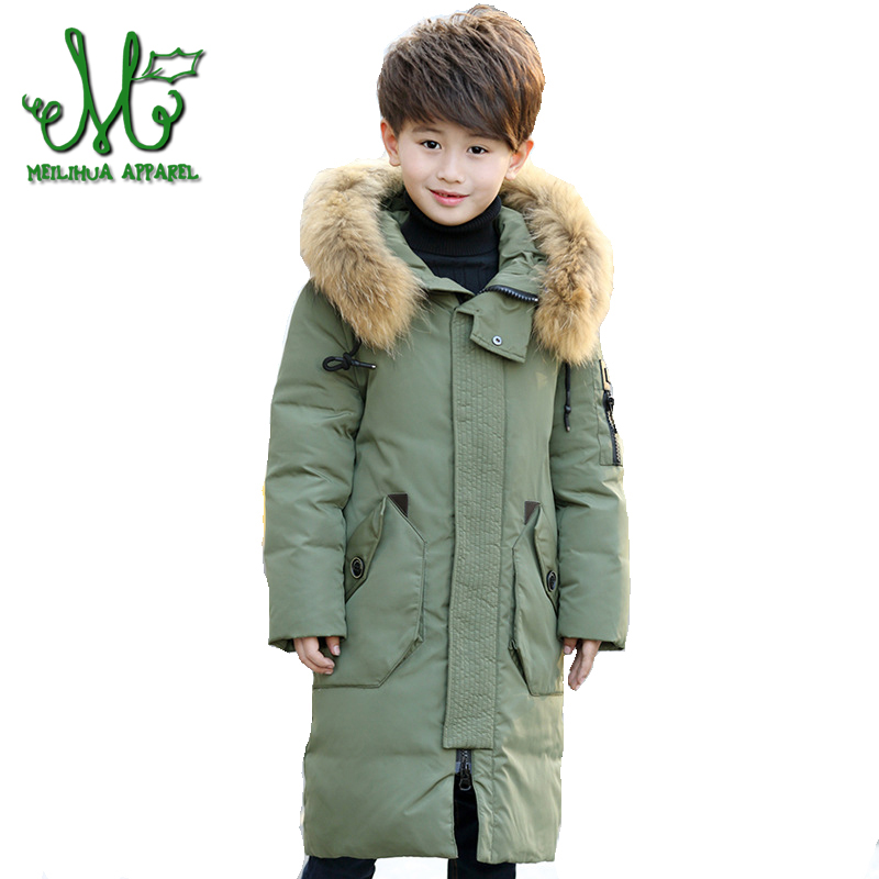 Big Boys Duck Down Jacket Teen Girl Winter Warm Coats Children Big Fur Collar Hooded Parkas 10 12 Year Kids Thick Long Outerwear 2017 new winter fashion women down jacket hooded thick super warm medium long female coat long sleeve slim big yards parkas nz18
