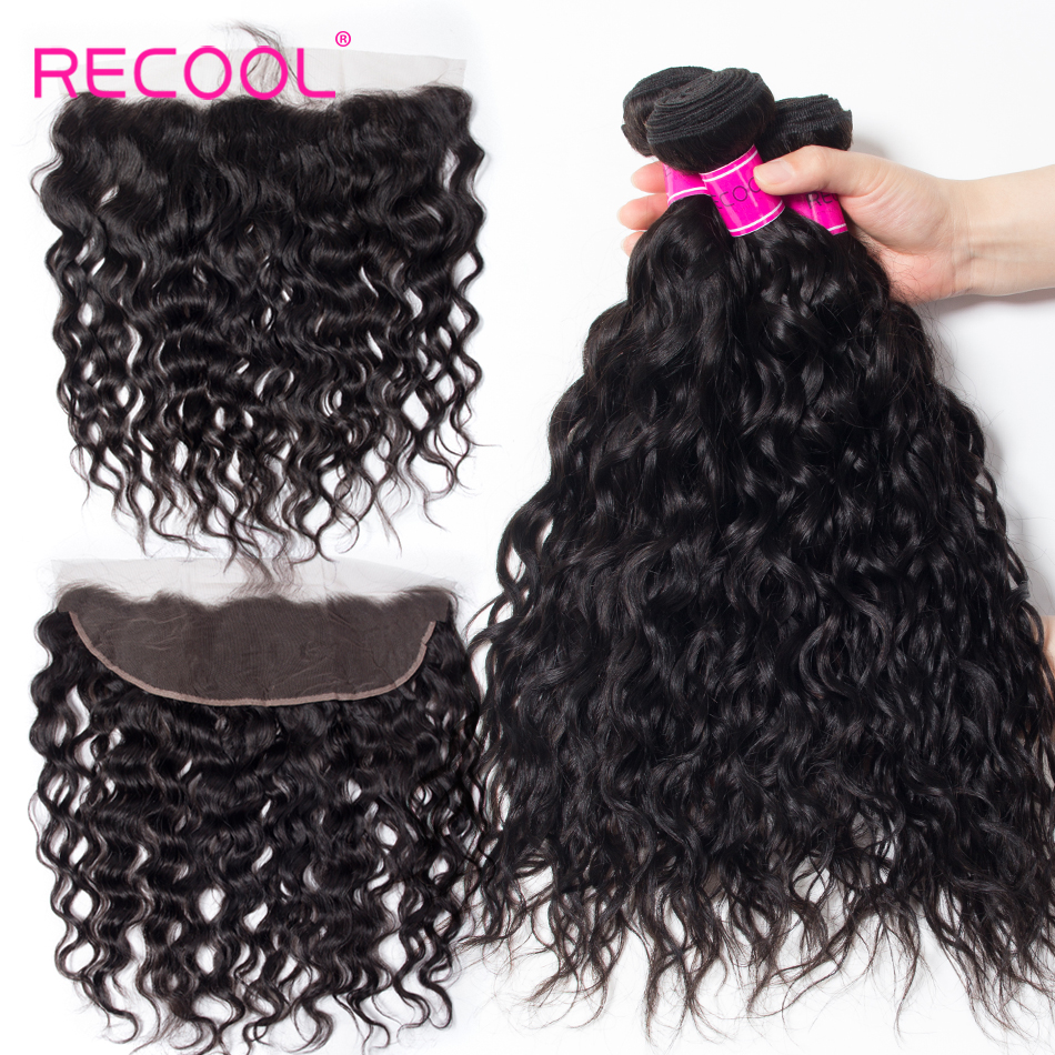 Recool Hair Raw Indian Hair Water Wave 3 Bundles With Closure Remy Hair Lace Frontal Closure