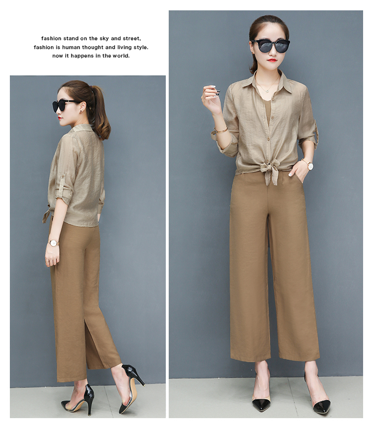 2019 Spring summer women sets office lady elegant chiffon blouse shirts+female wide leg pants trousers pantalon two piece sets 12