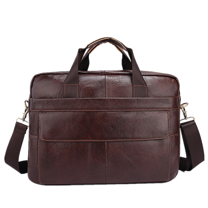 Famous Brand Genuine Cowhide Leather Business Men Briefcase Laptop Bags Men's Travel Bag Portfolio Men Shoulder Bag Man Handbag