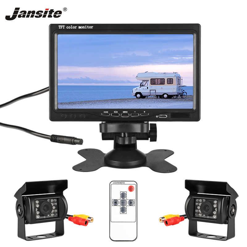 """Jantone 7 """"TFT LCD con cable HD Monitor de coche Pantalla de cámaras sistema de aparcamiento de cámara inversa para el Monitor de visión trasera del coche aplicable camión"""