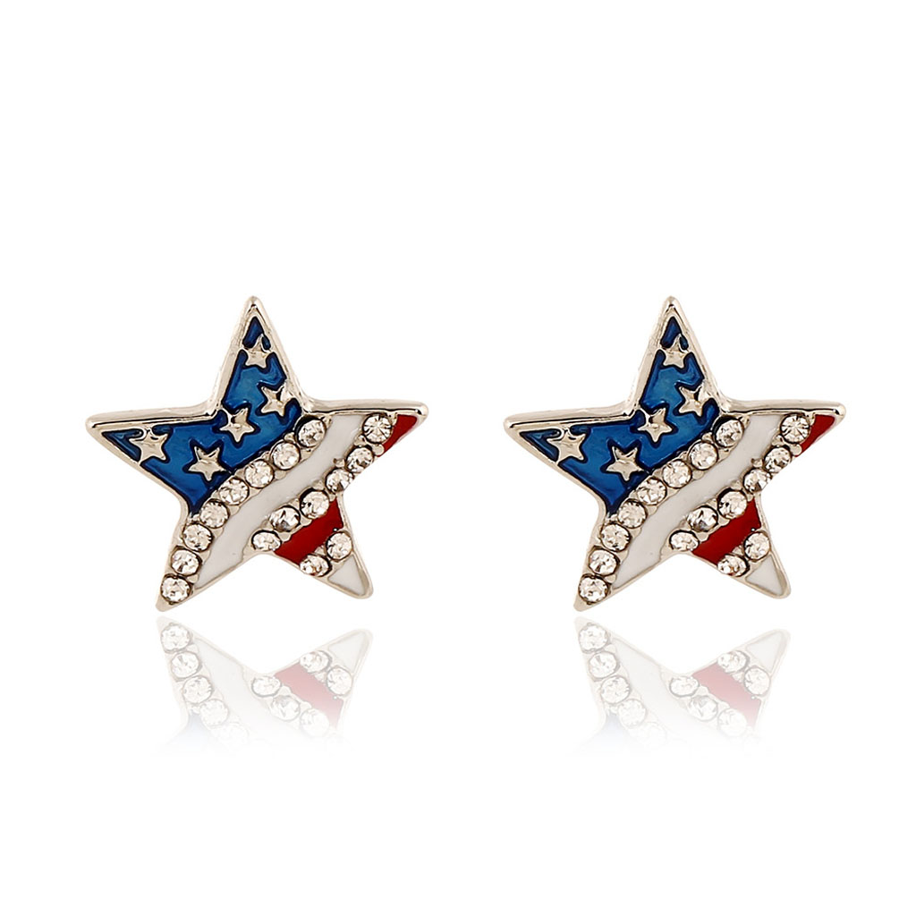 Fashion American Flag USA Star Design Earrings Ear Studs Patriotic Jewelry pendientes Geometric earrings for Women Jewelry Gift in Stud Earrings from Jewelry Accessories