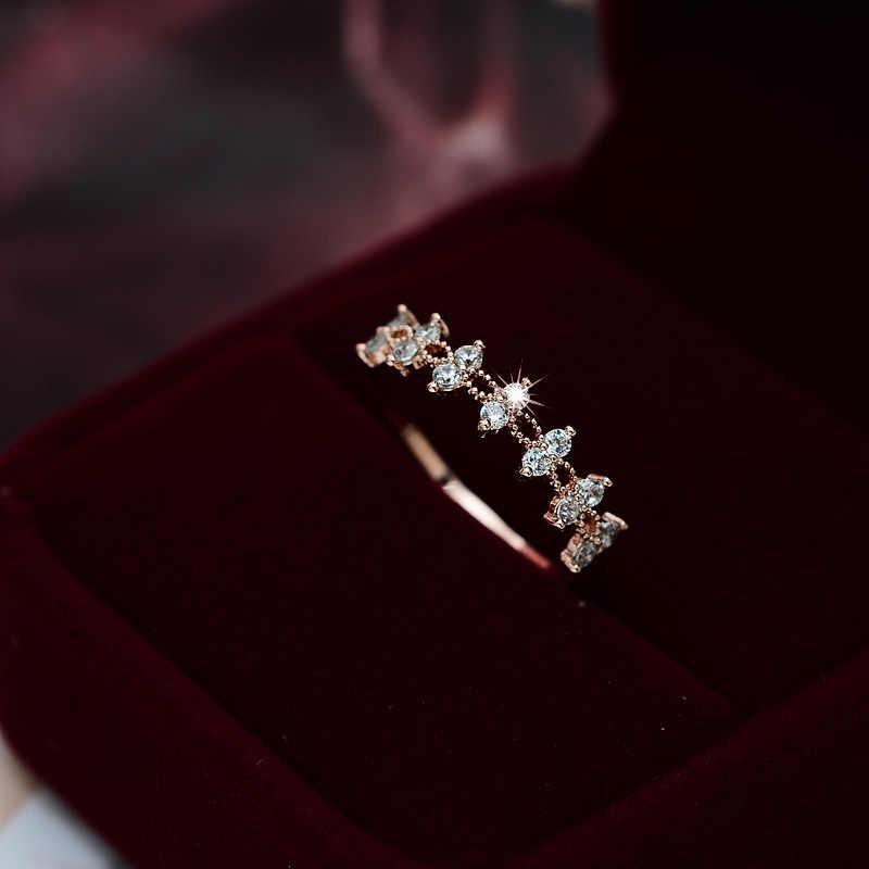 Tisonliz Dainty คริสตัลสีขาวลูกไม้แหวนสำหรับหมั้นแต่งงานสวยงามแหวน Rose Gold แฟชั่นเครื่องประดับ Bijoux