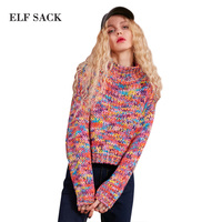 High Collar Sweater Women Multicolor Woolen Yarn Winter Female Pullover Sweaters Loose Casual Short Tops