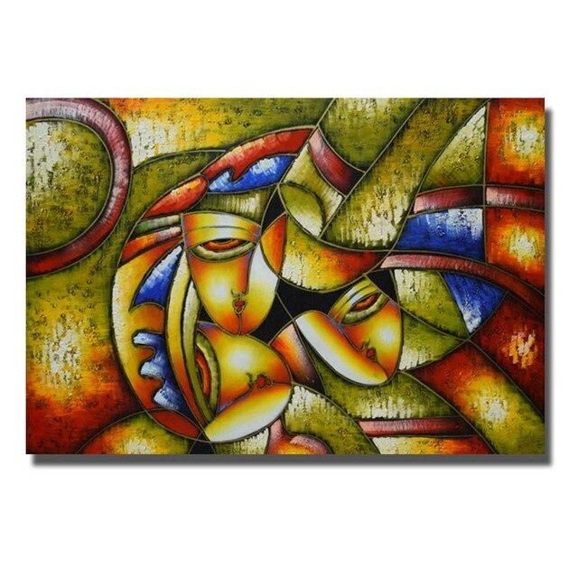 Alta calidad hecha a mano abstracta Cara pinturas para decoración ...