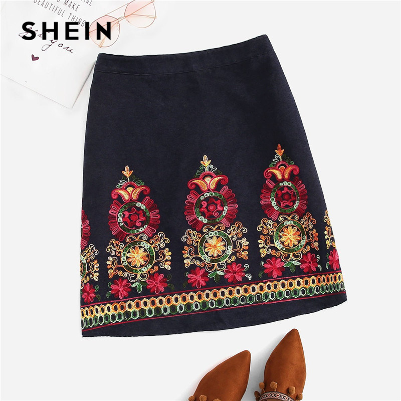 f2fd98578 SHEIN marino bordado Floral Mujer Plus tamaño vestido de pana faldas Indie  Folk estilo 2019 cremallera Boho faldas cortas