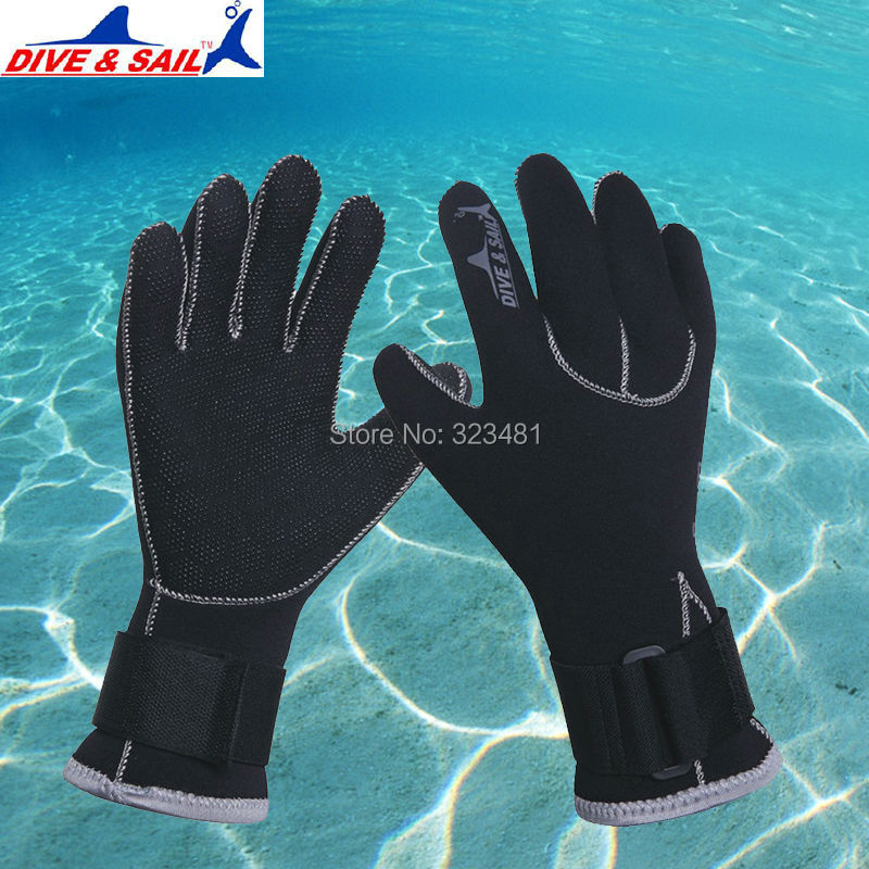 DIVE&SAIL Good 3mm Neoprene Diving Gloves Anti-slip Winter Warm Swimming Skiing Snorkeling Gloves Equipment