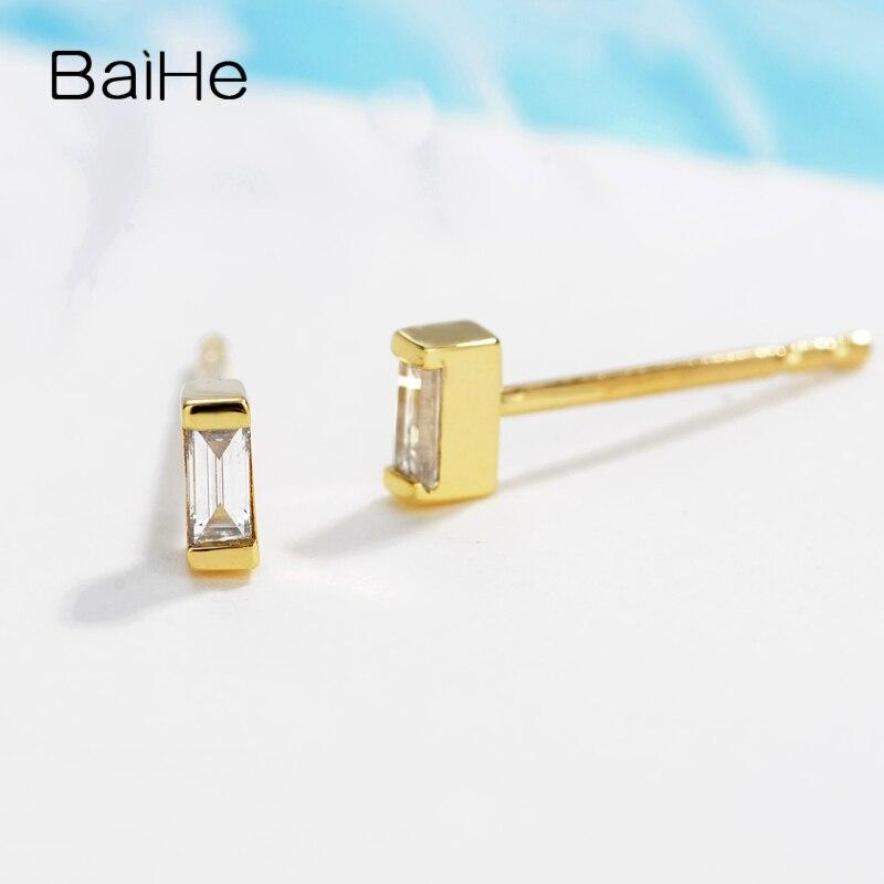 BAIHE Solid 14K Rose Gold 0.12ct H/SI Natuurlijke Diamanten Engagement Trendy Fijne Mode sieraden Man Vrouwen Gift stud Oorbellen - 3