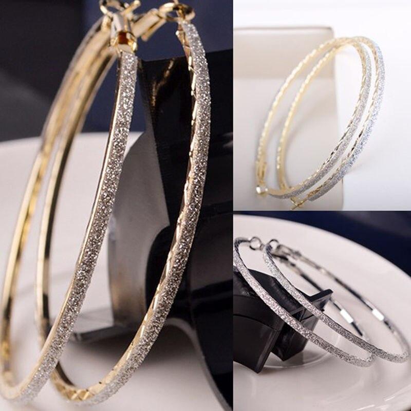 2 Farben Shinning Neue Kristall Großen Creolen Runde Silber Gold Ohrringe Ohrstecker Frauen Schmuck Modische Muster