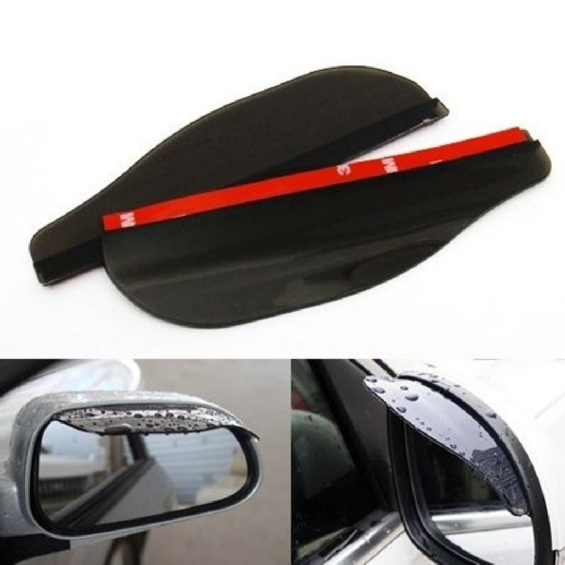 2 Car Rearview Mirror Flexible Anti Rain Shade Auto Weatherstrip Rainproof Cover