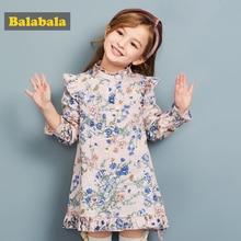 Balabala 2018 spring Children's clothing child Princess Dress Girls Dresses Floral Printed Long Sleeve enfant intarsia collar