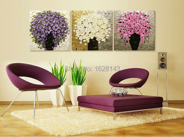 3 Pcs Hand Painted Modern Canvas Oil Paintings Thick Flower Tree ...