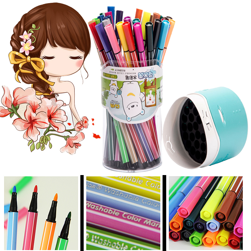 papelaria watercolor pen set children's drawing pen can be washing crayons water color marker manga brush pen touchnew 60 colors artist dual head sketch markers for manga marker school drawing marker pen design supplies 5type