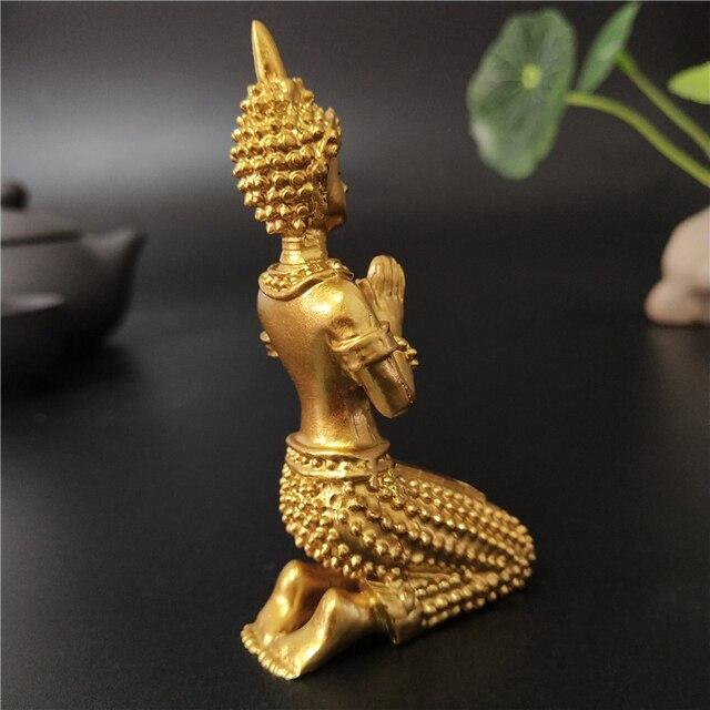 Golden Meditation Buddha Statue Thailand Buddha Sculptures Figurines Resin Crafts Ornament For Home Garden Flowerpot Decoration 4