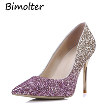Bimolter New Fashion Bling Bride Wedding Shoes Ladies High Heel Shiny Crystal Women Pumps Elegant Princess Party PXEA003