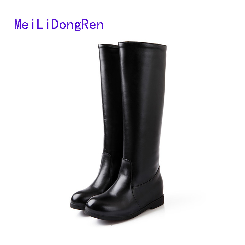 new knee high boots black and white low heels