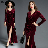 Winter Vintage Long Sleeve Warm Dress Suede to the Floor Elegant and Magnificent for New Year's Flannel Dresses