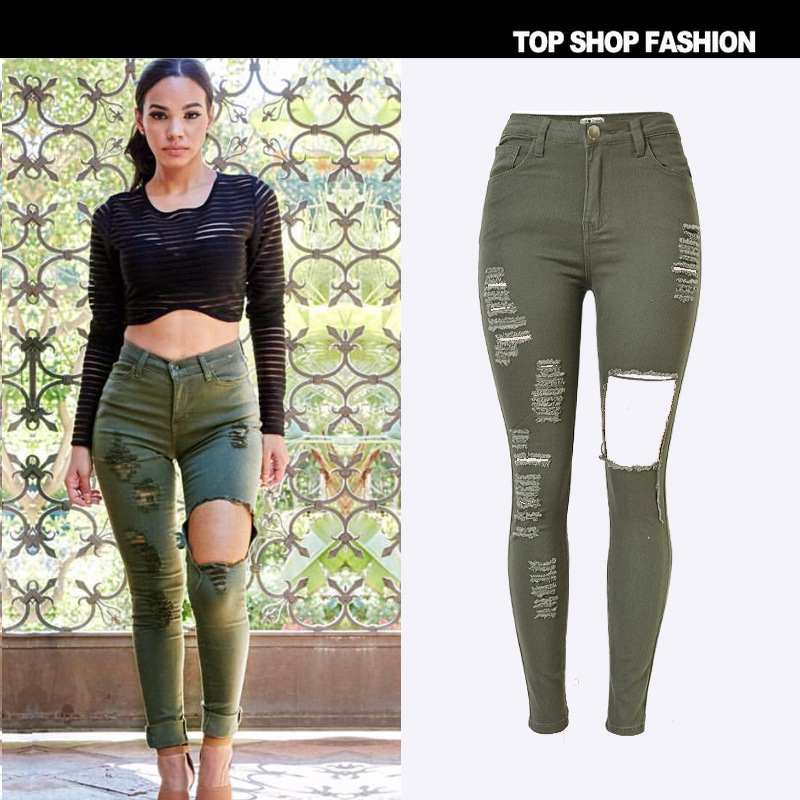 885e11cd82 High waist army green denim pencil pants women high quality elastic  camouflage cultivate one's morality ripped hole jeans female-in Jeans from  Women's ...