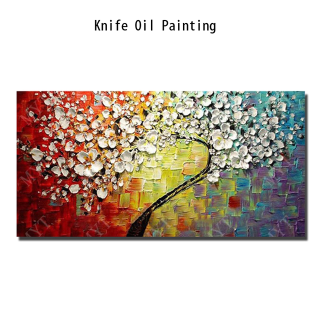 New 100% Hand-painted Abstract Oil Painting modern tree 3D Knife flower Painting on the Canvas Pictures wall Art Home Decoration