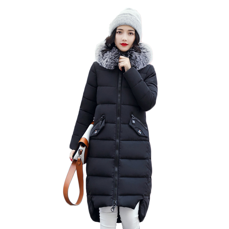 Winter feather cotton women outwear long section thick section Slim hooded coats large fur collar  large size down jacket LX165 winter feather cotton women outwear long section thick section slim hooded coats large fur collar large size down jacket lx165